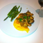 Garlicky Mushrooms with Parmesan Polenta and Grilled Asparagus