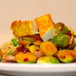 Sauteed Brussel Sprouts with Tofu and Red Onion