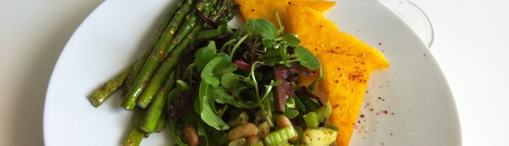 Bean Salad with Polenta and Asparagus