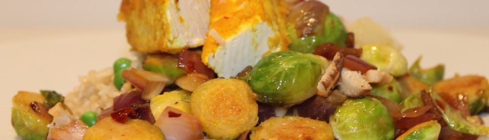 Brussel Sprouts with Red Onion and Tofu