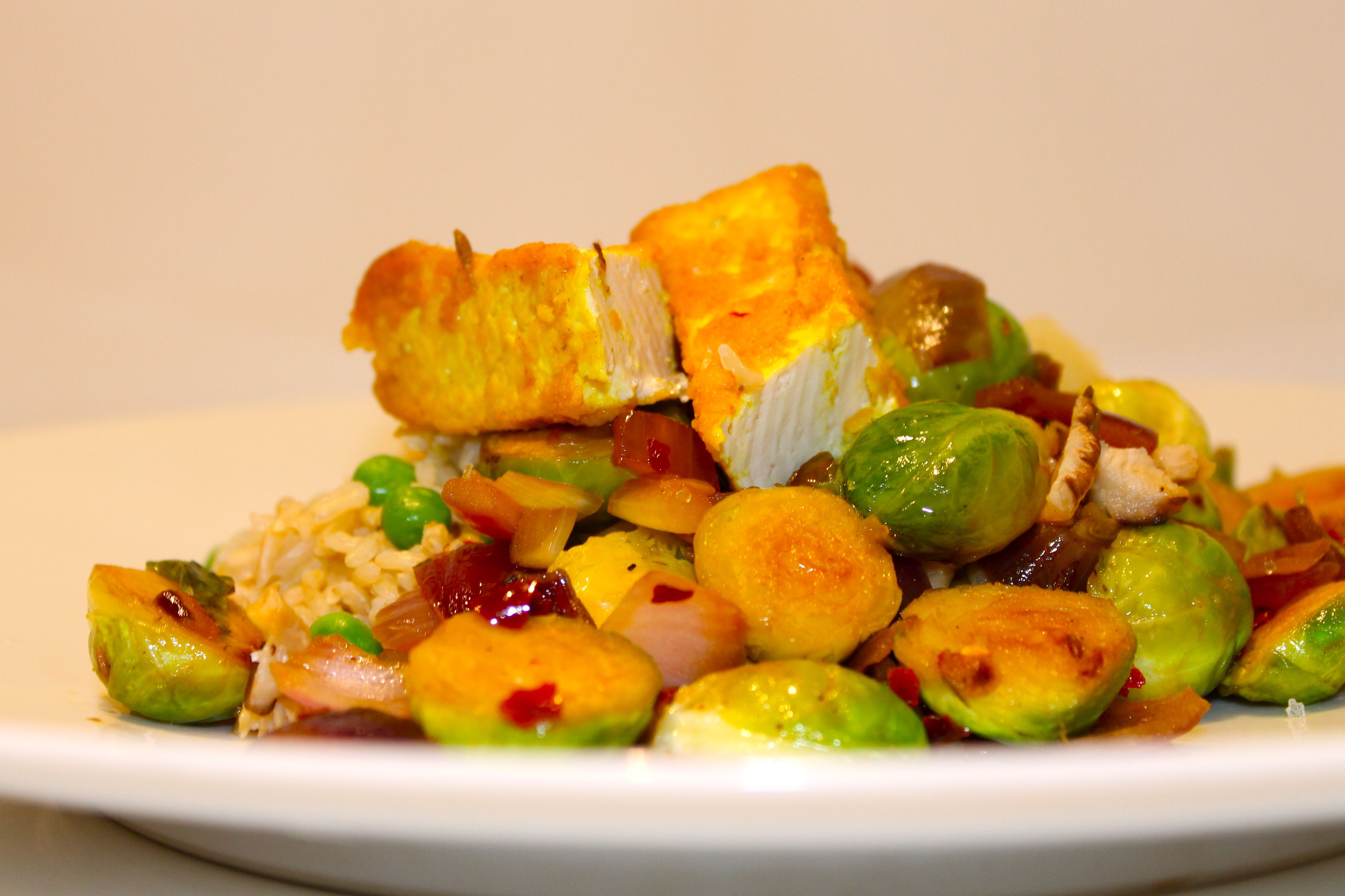Sauteed Sprouts with Red Onion