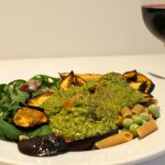 Pasta with Broad Beans, Aubergine and Green Walnut Sauce